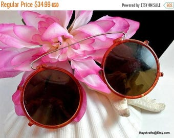 Christmas In July 40% Off 1950 Clip On Sunglasses Vintage Brown Clipon Sunglasses 1950 Sunglasses