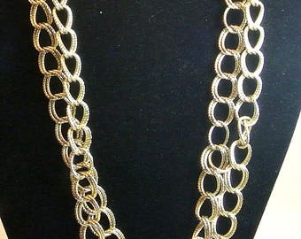 Half Inch Chain Link Long Necklace 42 Inch Silver Tone Chain Necklace Vintage Rope Loop Chain Retro Necklace Free Shipping In USA