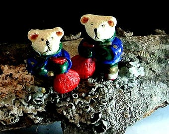 Bears Are Special Clip On Earrings Christmas Bear Earrings Vintage Earrings White Bear Earrings Free Shipping In USA