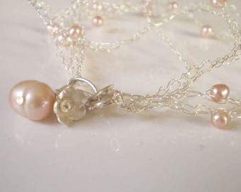 Delicate lace sterling silver and Pink Freshwater Pearls Bracelet - bridal jewelry - occasions jewellery, knitted jewelry,