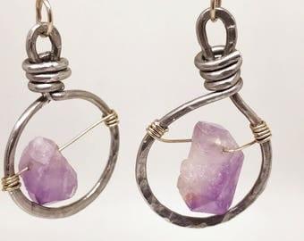 aluminum amethyst hoop earrings