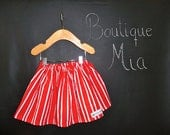 Sample SALE - Will fit Size 12 month to 2T - Ready to MAIL - SKIRT - Red and White Candy Stripes - by Boutique Mia