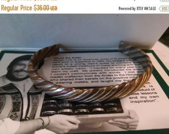 Flash Sale In Original Box Vintage Sergio Lub Bracelet Signed Mixed Metal Silver Copper Brass Woven Cuff Bracelet