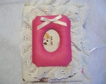 Baby Girl Pocket Photo Album / Brag Book - Eyelet Photo Frame - Nursery Animals