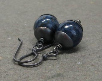 Lapis Lazuli Earrings Royal Blue Large Gemstones Oxidized Sterling Silver Gift for Her