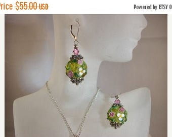 Moving Sale 40% Off Sterling Silver Floral Lampwork Earrings with a Bali Bead Caps and Swarovski Crystals