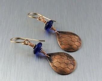 Textured Copper Earrings - Copper and Cobalt Blue Earrings - Copper Teardrop Earrings