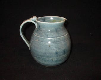 pitcher in gray blues, stoneware, pottery, dishwasher safe