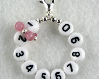 Pink Cats Eye Removable 10 Row Counter Stitch Marker - Lobster Claw or Leverback - Item No. 1022