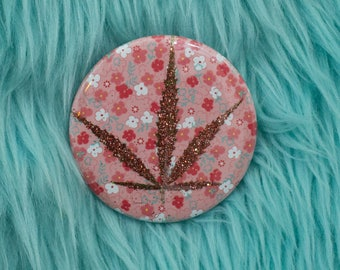 Red Glitter Pressed Cannabis Leaf Button