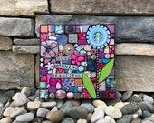 Good Morning Beautiful. (A Handmade Starbucks Series Mixed Media Mosaic Wall Hanging by Shawn DuBois)