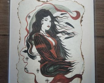 The Morrigans Journey Queen of the Ravens Art by Carole Anzolletti Blank Card