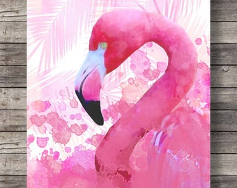 Flamingo, Printable art, Watercolor flower crown,summer art, pink hand painted, tropical decor, flamingo art print, Printable wall art