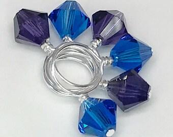 Stitch Markers - Purple Velvet and Capri Blue Swarovski Crystal Singles