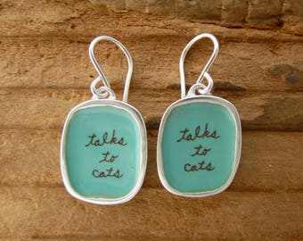 Talks to Cats Earrings - Sterling Silver and Vitreous Enamel Cat Earrings