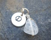 Quartz Crystal and Stamped Initial Charm - Anklet Add-On Charms