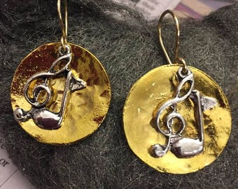 Music Themed Earrings, Gold Plated Disc with Music Charm