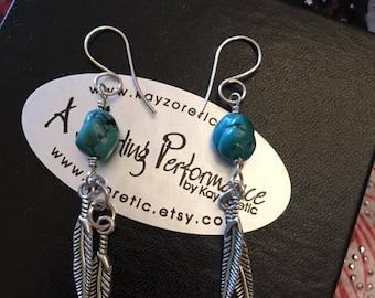 Swingy Turquoise, Dangle Earrings,  Genuine Turquoise,