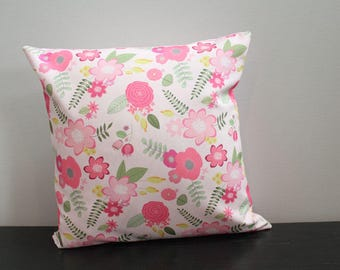 Pillow cover berry flower floral 18 inch 18x18 modern hipster accessory home decor nursery baby gift present zipper canvas ready to ship