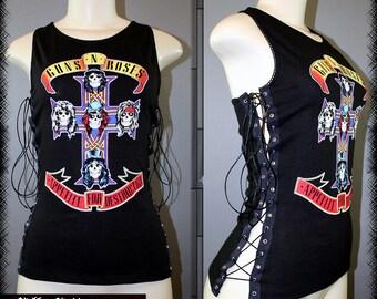 Gun N' Roses Appetite For Destruction Axl Rose Racer Back Corset Tank Top T Shirt Slash Band Merch Concert 80s Hair Metal GNR