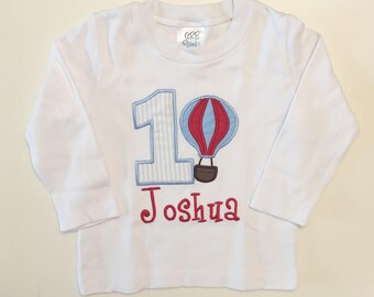Hot Air Balloon 1st Birthday Bodysuit Shirt- Red and Blue- Personalized Baby Boy