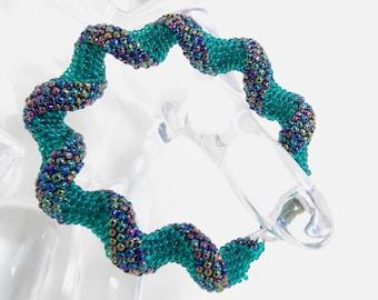 Aqua Twist/Peyote Bracelet/Beaded Bracelet/Handmade Jewelry/Beadwoven Bracelet/Gift for Her