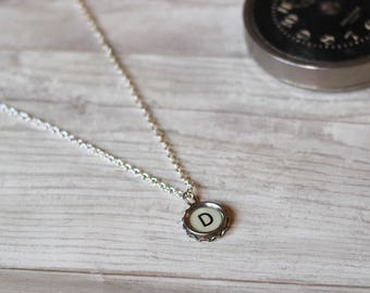 Typewriter Necklace, Writer Gift Idea, Teacher Necklace, Initial D Pendant