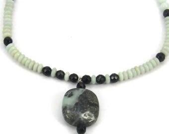 Amazonite and Onyx Necklace, Gemstone Necklace