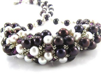 Plum and Silver Pearl Necklace, Beaded Necklace, Pearl Necklace