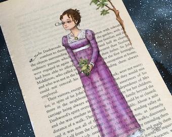 Jane Austen Elinor - Sense and Sensibility original painting on book page