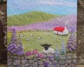 Delphinium Cottage Canvas Print - Black Faced Sheep - Needle Felt Art Print - Red Roofed Cottage - Sheep and Lambs - Wall Art - Box Canvas