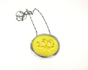 Deer necklace vintage deer necklace yellow necklace statement necklace art jewelry art necklace large necklace deer vintage plaque