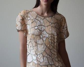 silk beaded sequin dress / vintage cocktail dress / iridescent fitted cocktail dress / US 8 / 2215d