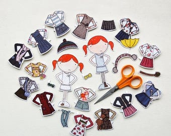 SALE Clara Paper Doll, Dress-up Clothes  - The Deluxe Set