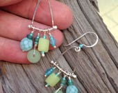 Tropical Glass and Sterling Trapieze Dangle Earrings
