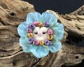 Lampwork Glass Blue Flower Baby Focal