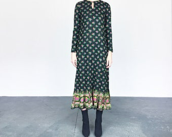 70s Black Floral Maxi Dress (S)
