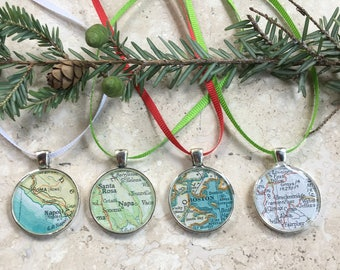 Map Ornaments Medallions Silver for Christmas Custom Cities 25mm   Housewarming Gift  Hometown Set of 4