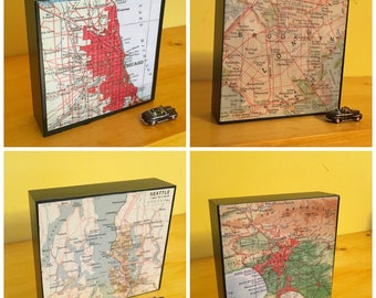 "Custom Map Art Block - You Choose the City - Home Office Decor - Housewarming Gift- New House or  Wedding  Present - Atlas 4"" x 4"""