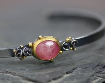 Pink Sapphire Cuff Bracelet with French Knots and Gold Dots
