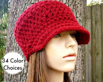 Cranberry Red Newsboy Hat Red Crochet Hat Red Womens Hat - Jockey Cap - Red Hat Red Beanie Crochet Accessories Winter Hat - 34 Color Choices