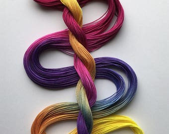 """Size 10 """"Afternoon Mix"""" hand dyed thread 6 cord cordonnet tatting crochet cotton"""