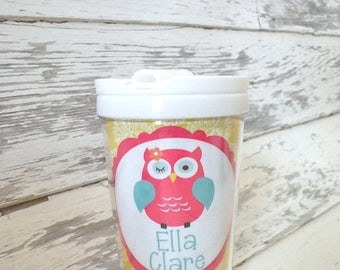 ON SALE personalized PINK Owl everlasting toddler tumbler
