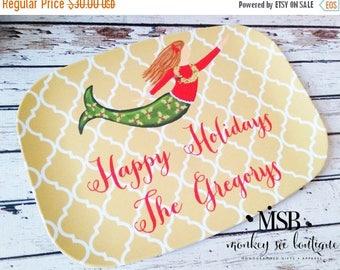 ON SALE Holiday Mermaid Christmas Melamine Platter - holiday serving platter - personalized platter - hostess gift - custom holiday platter