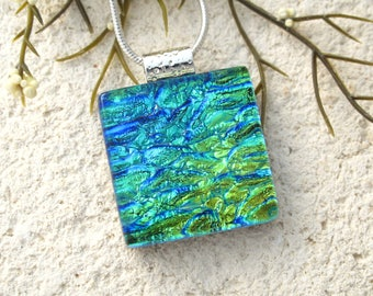 Petite Pendant, Blue Green Gold Necklace, Dichroic Jewelry, Dichroic Necklace, Fused Glass Jewelry, Dichroic Pendant, ccvalenzo, 071517p100