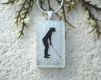 Petite Golfer Necklace, Sea Horse Jewelry, Dichroic Jewelry, Fused Glass Pendant, White Black Necklace, ccvalenzo OOAK, 092517p103