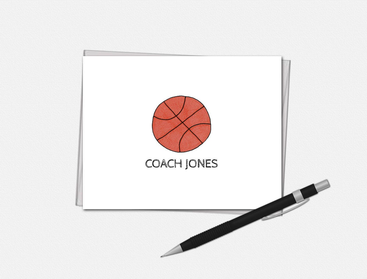 basketball note cards personalized basketball note cards coach note cards set of 10 - Personalized Folded Note Cards