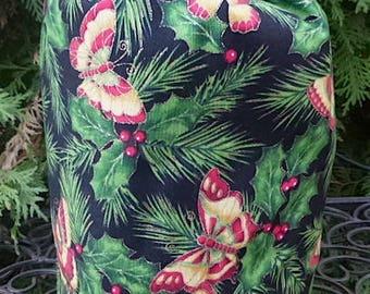 Christmas drawstring bag, WIP bag, project bag, reusable gift bag, Christmas Butterflies, Suebee