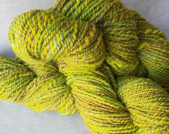 Handspun Natural Yarn - Spring Violets - Handspun from hand dyed Corriedale wool - Bright and cheerful greens