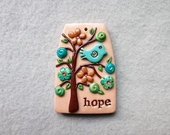 Happiness Tree, Healing Tree Pendant with Bird - HOPE